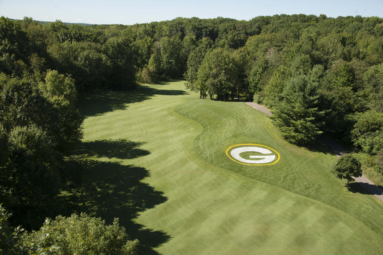 An aerial view of the Greenbay Packers logo on the course at Thornberry Creek at Oneida